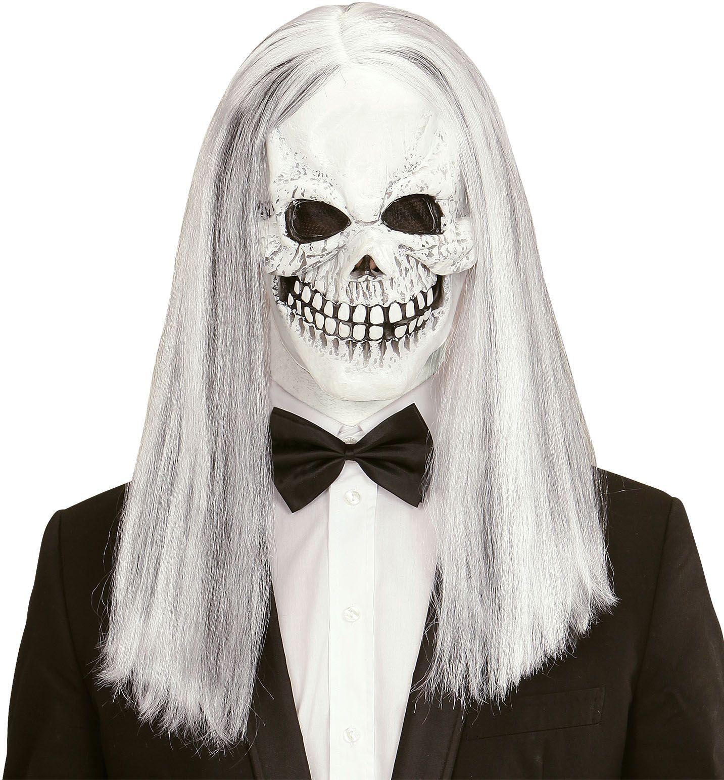 Schedel masker met pruik