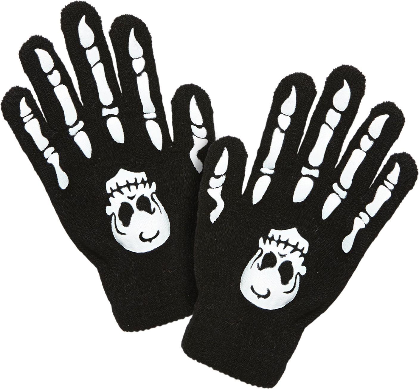 Schedel met botten handschoenen