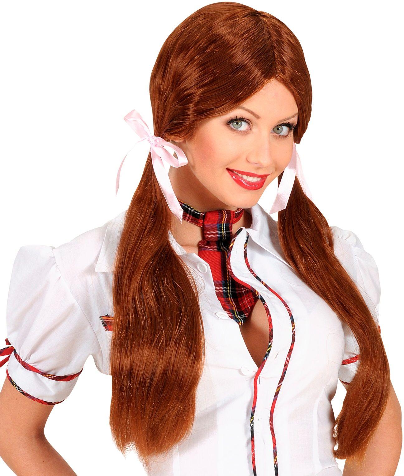 Schoolmeisje pruik bruin