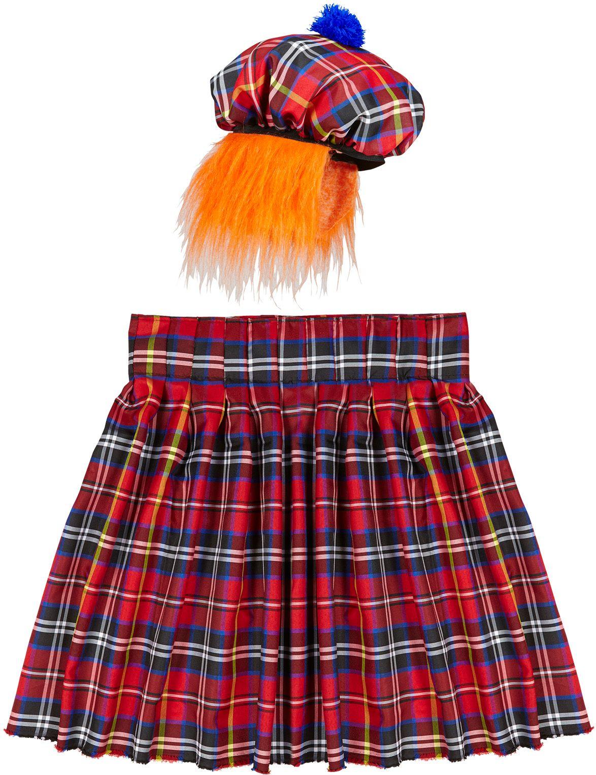 Schotse rok en muts met pruik