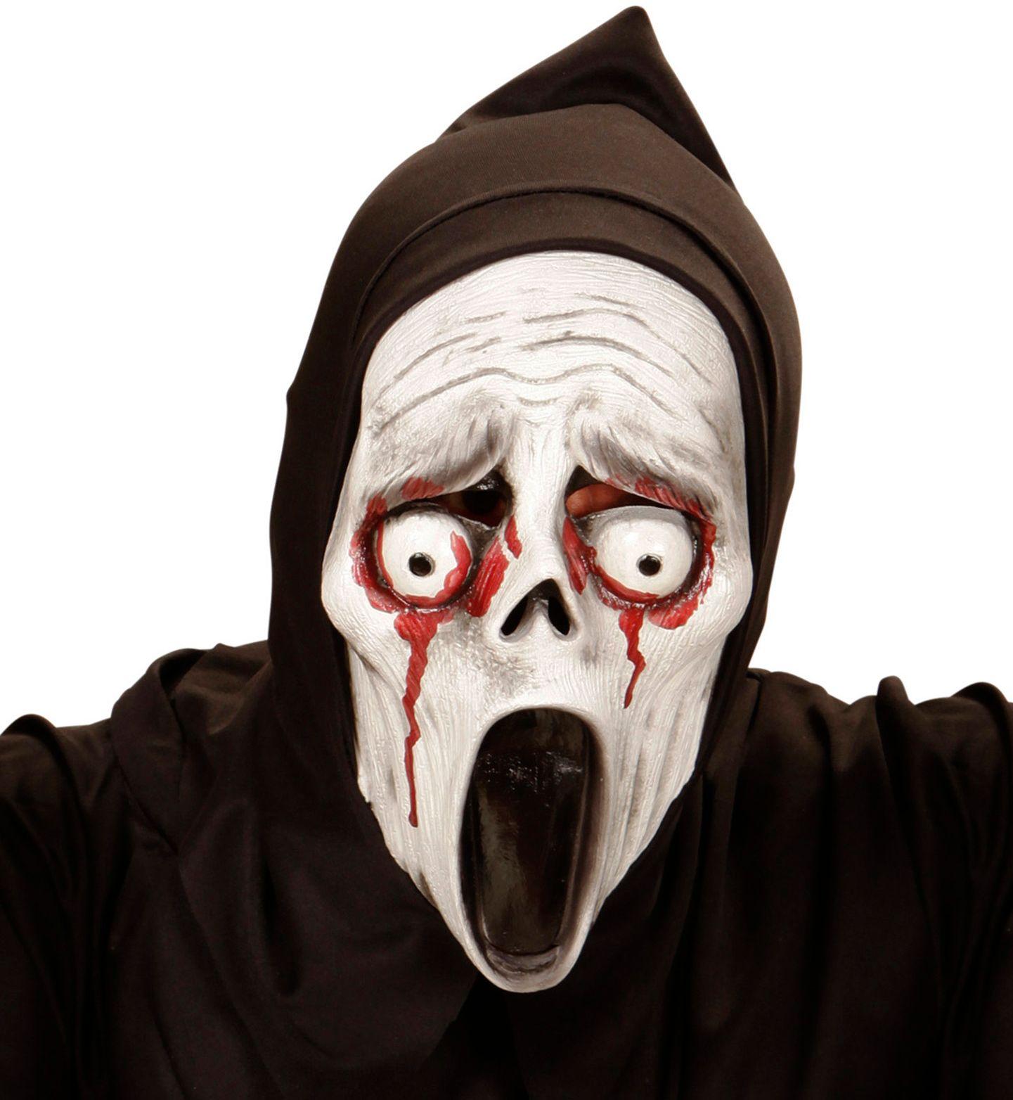 Scream masker met bloedende ogen