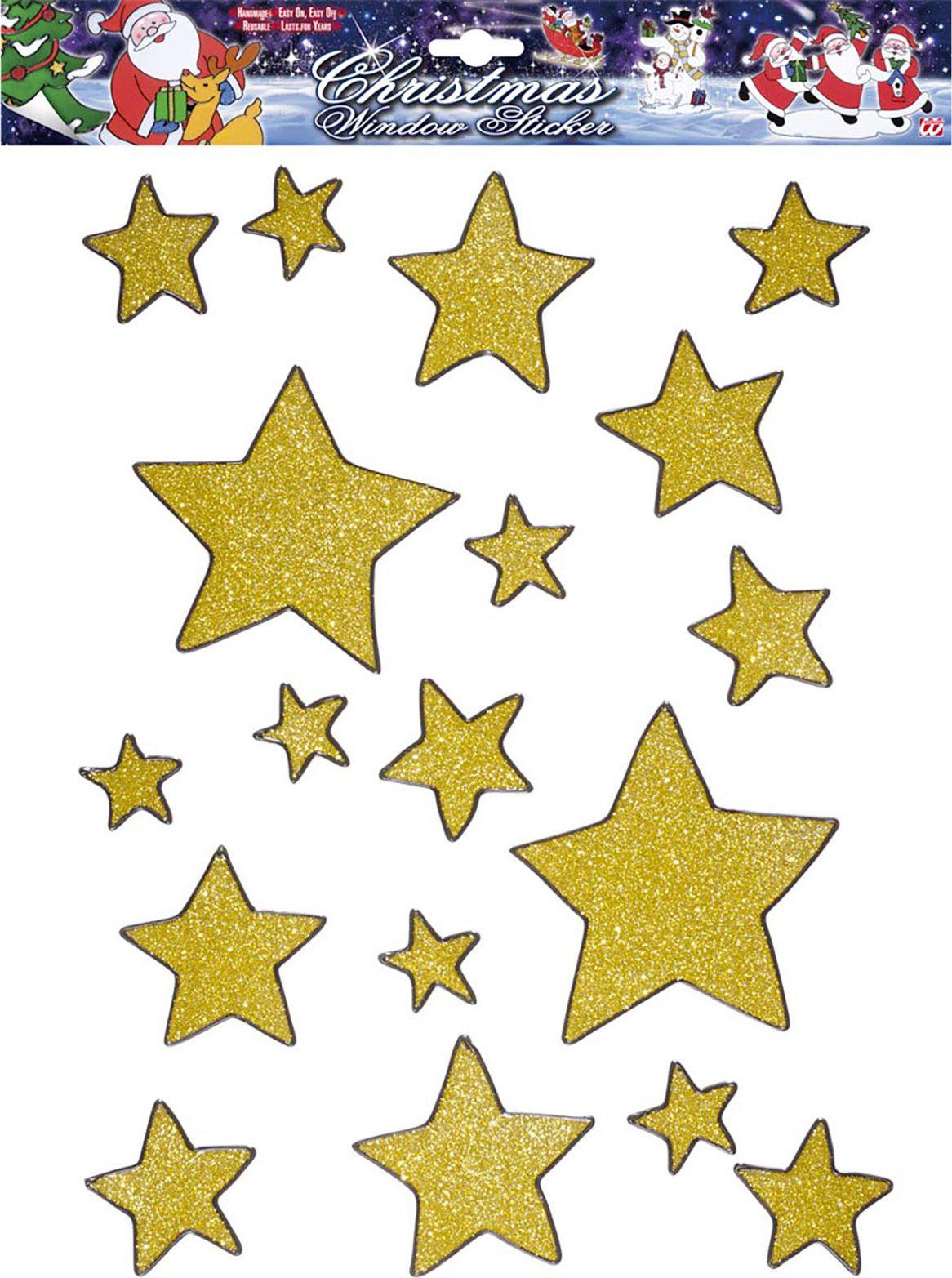 Set van 18 gouden sterren raam stickers