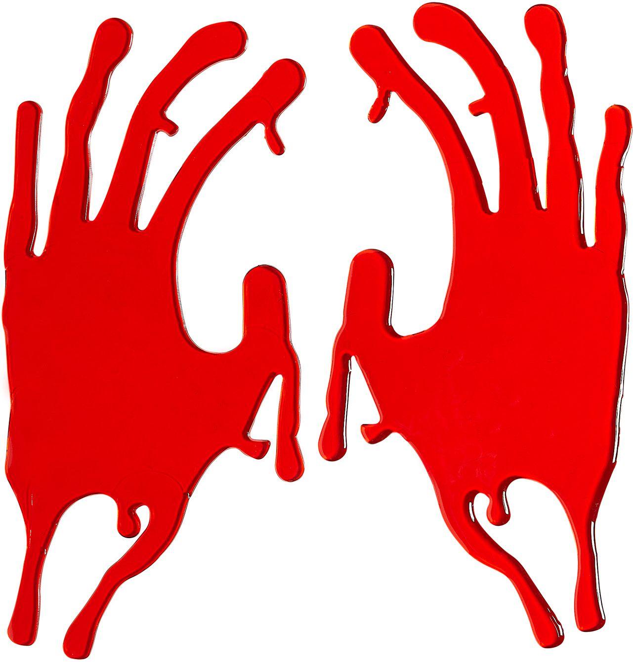 Set van 2 bebloede handen raam stickers