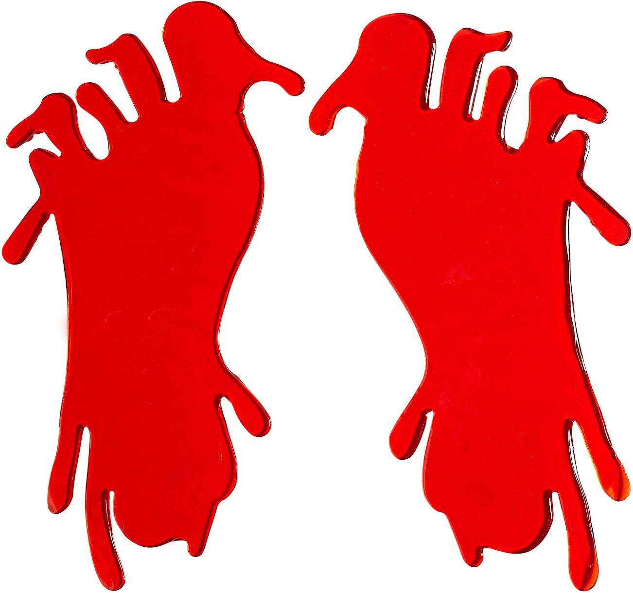 Set van 2 bloedige voet raam stickers