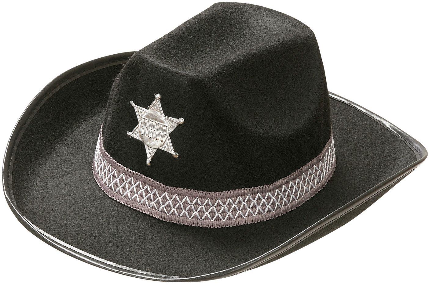Sheriffhoed zwart kind