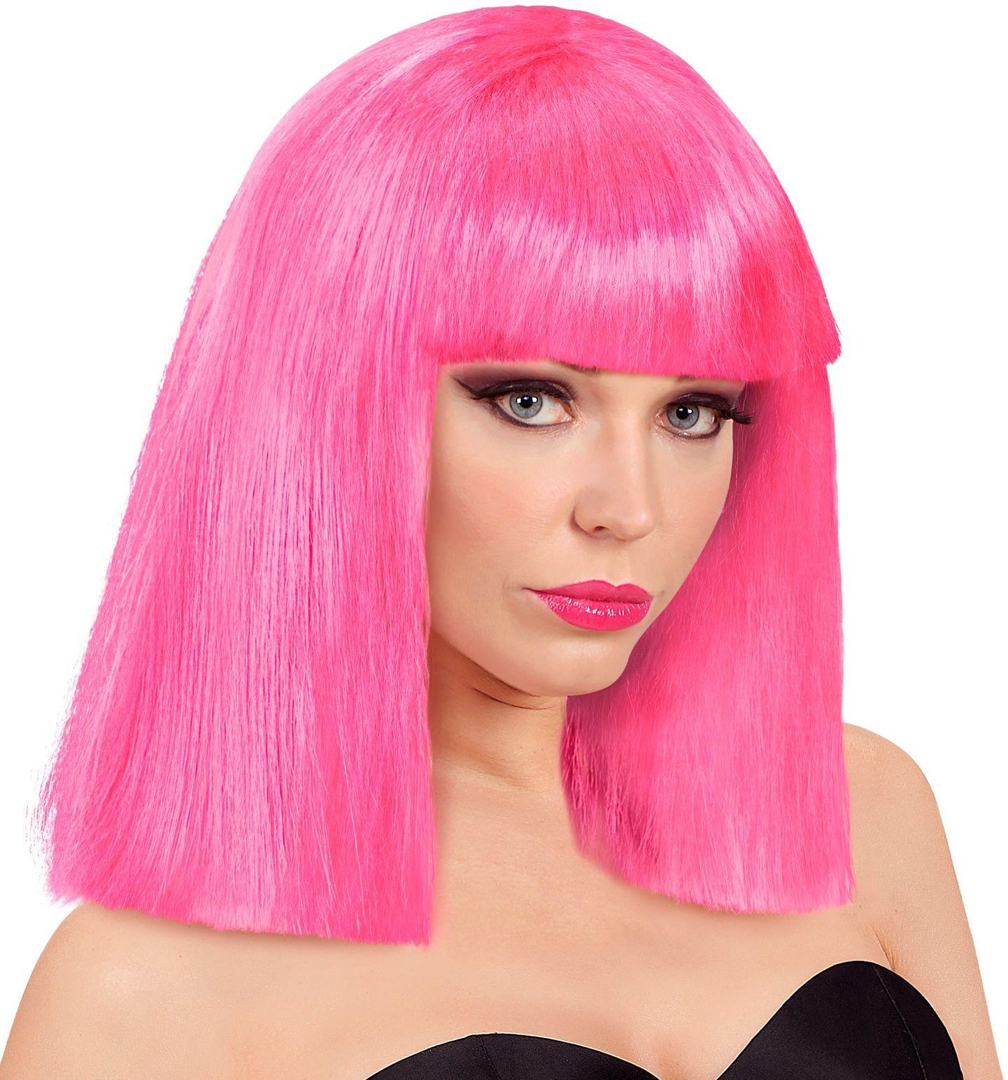 Showgirl pruik donker roze