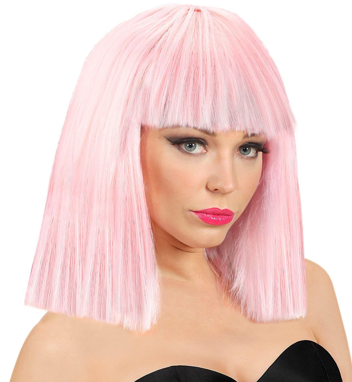 Showgirl pruik licht roze