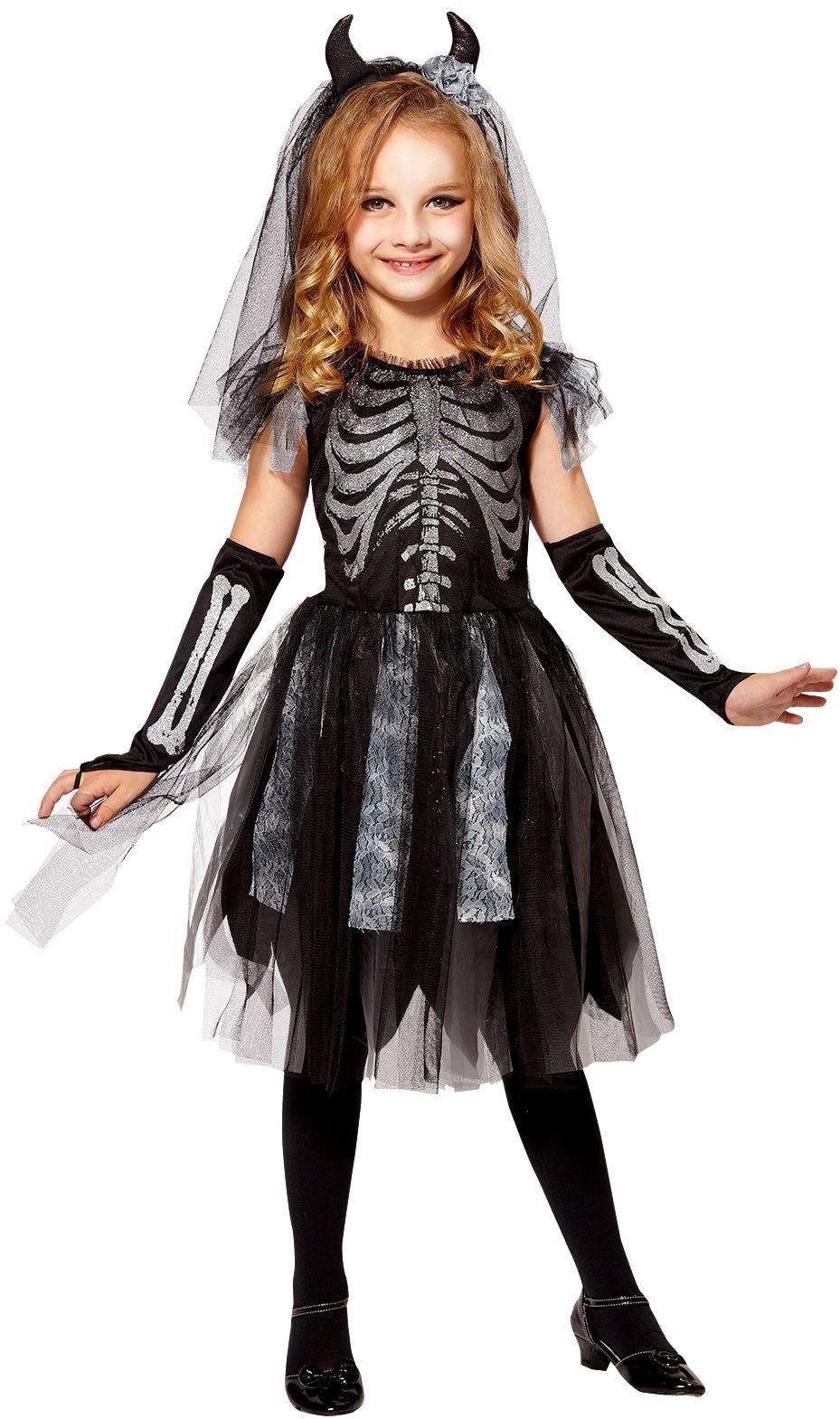 Skelet bruid kind jurk