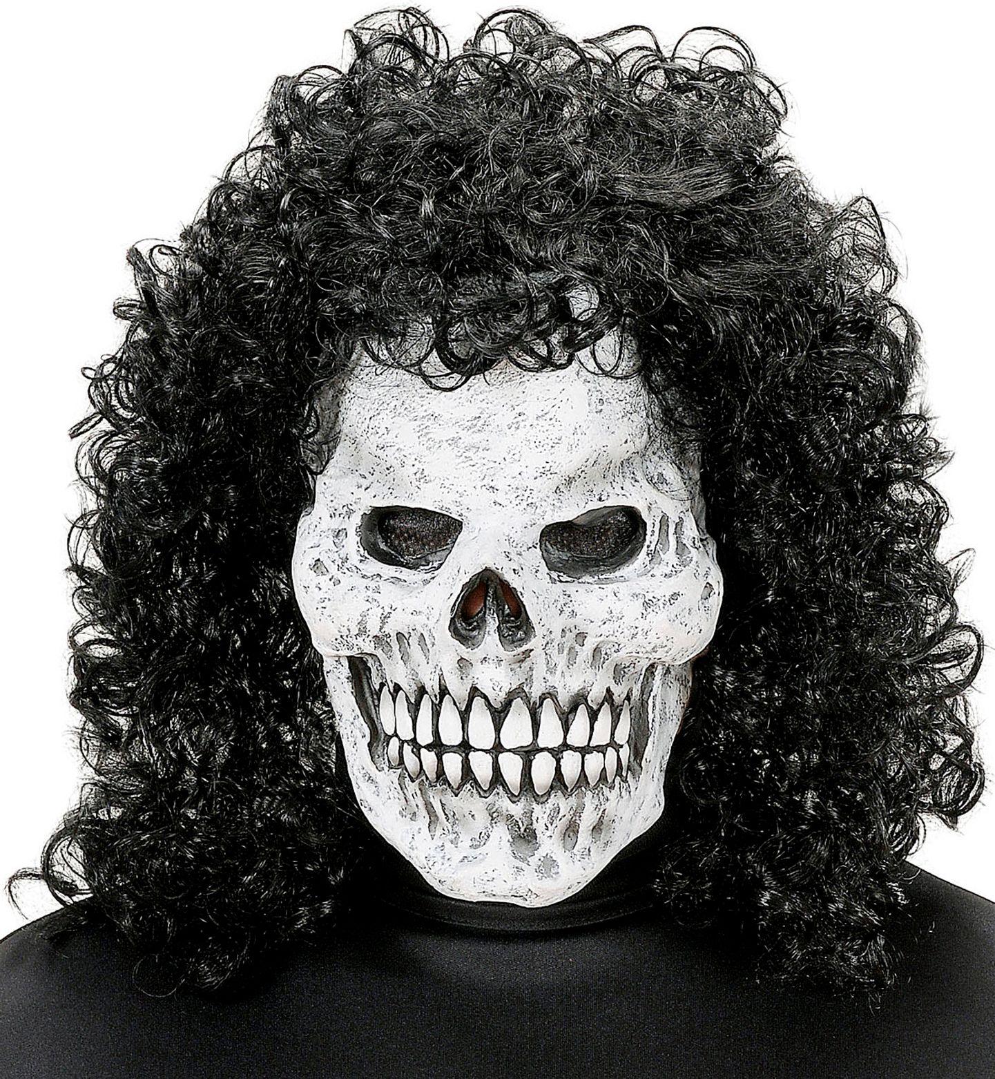 Skelet masker met krulpruik