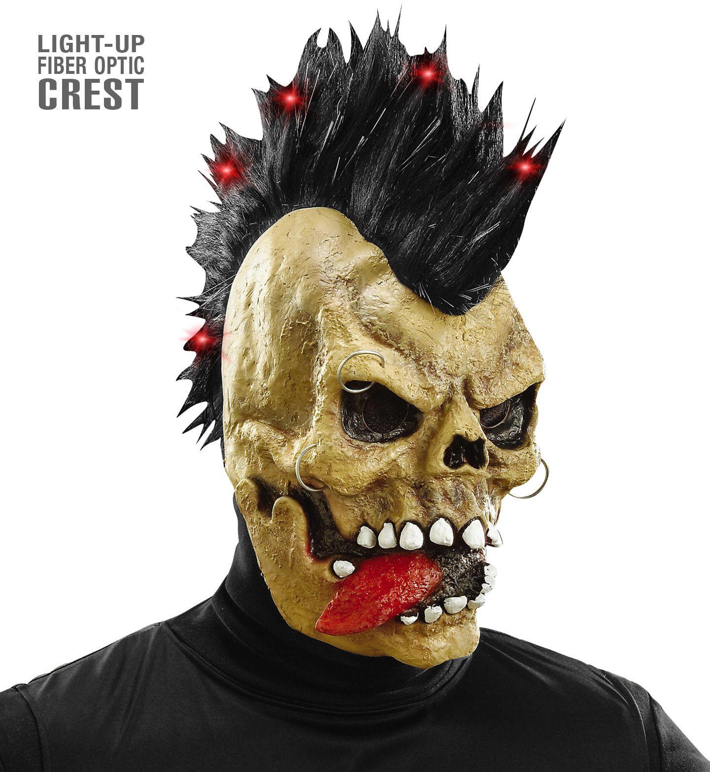 Skelet masker met lichtgevende hanenkam