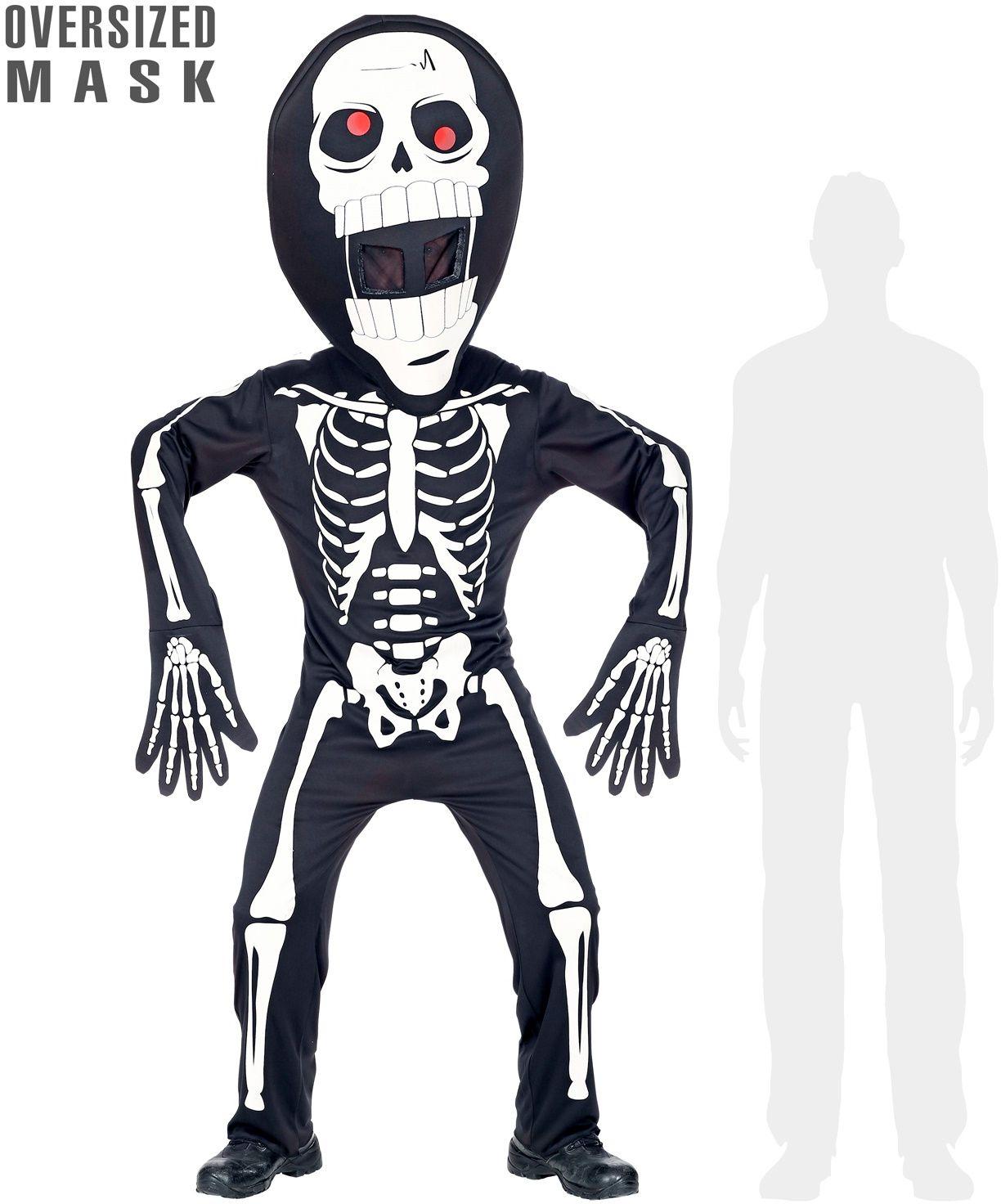 Skelet outfit met groot hoofd
