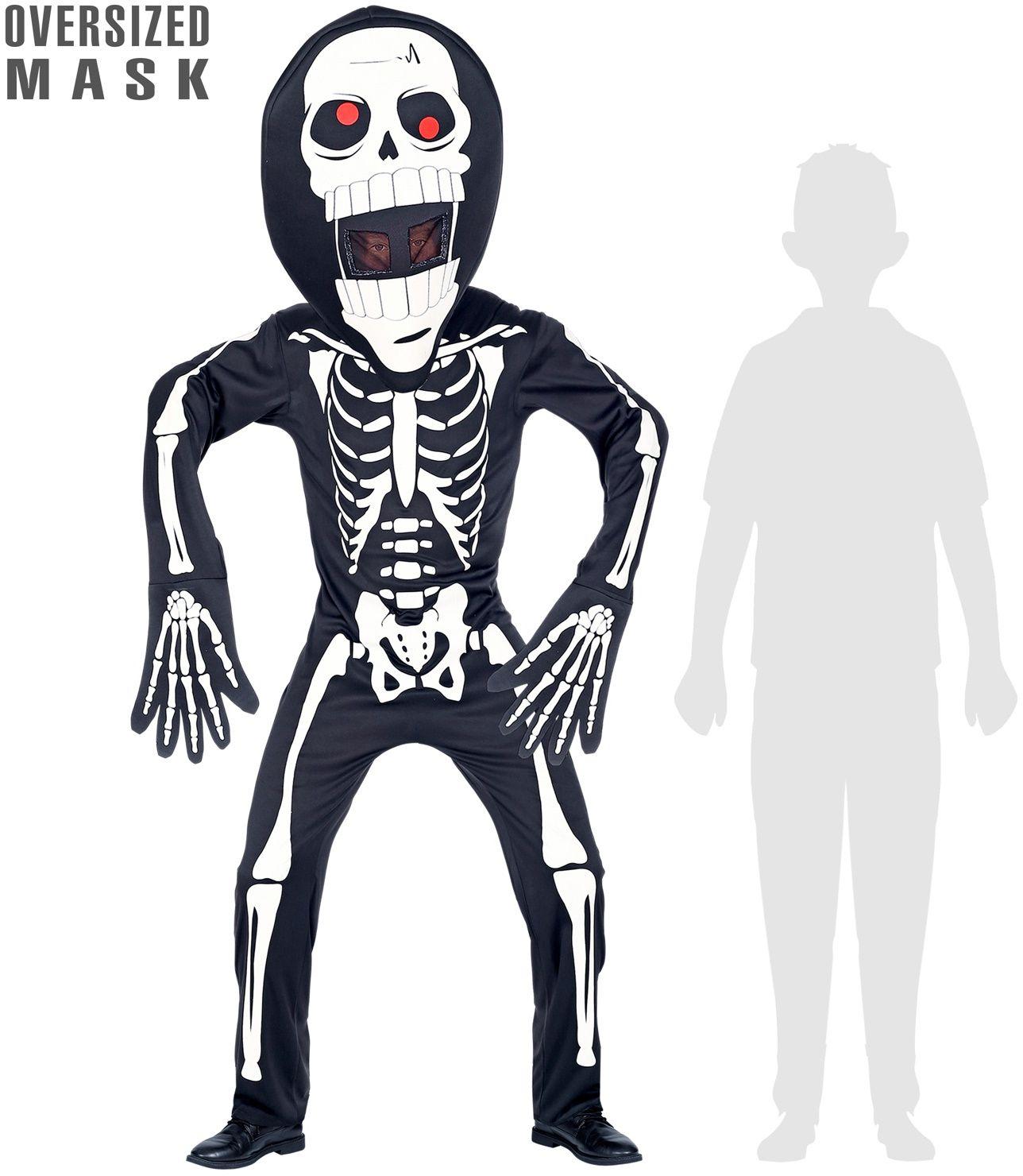 Skelet outfit met groot hoofd kind
