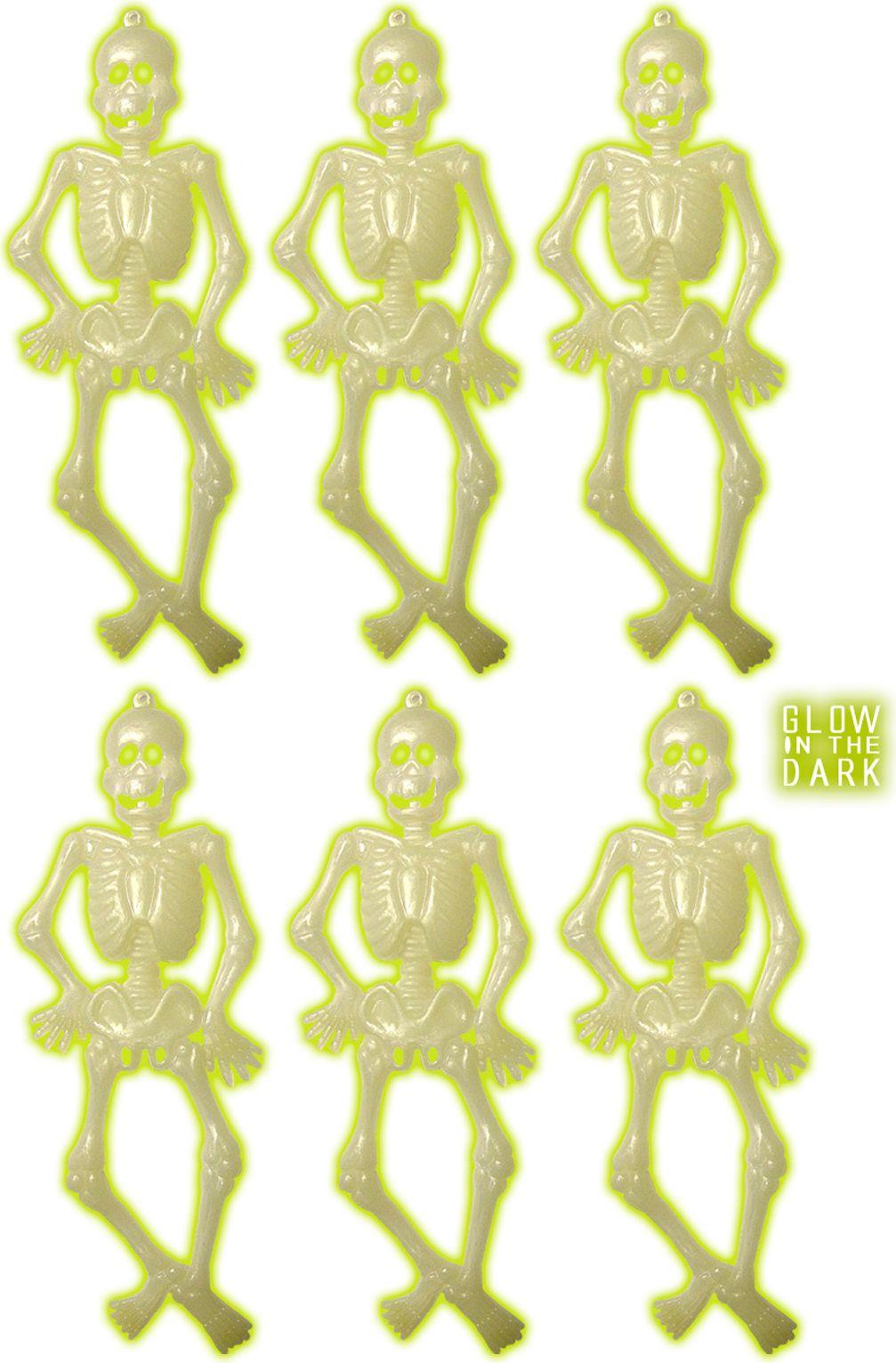 Skelet set glow in the dark 6 stuks