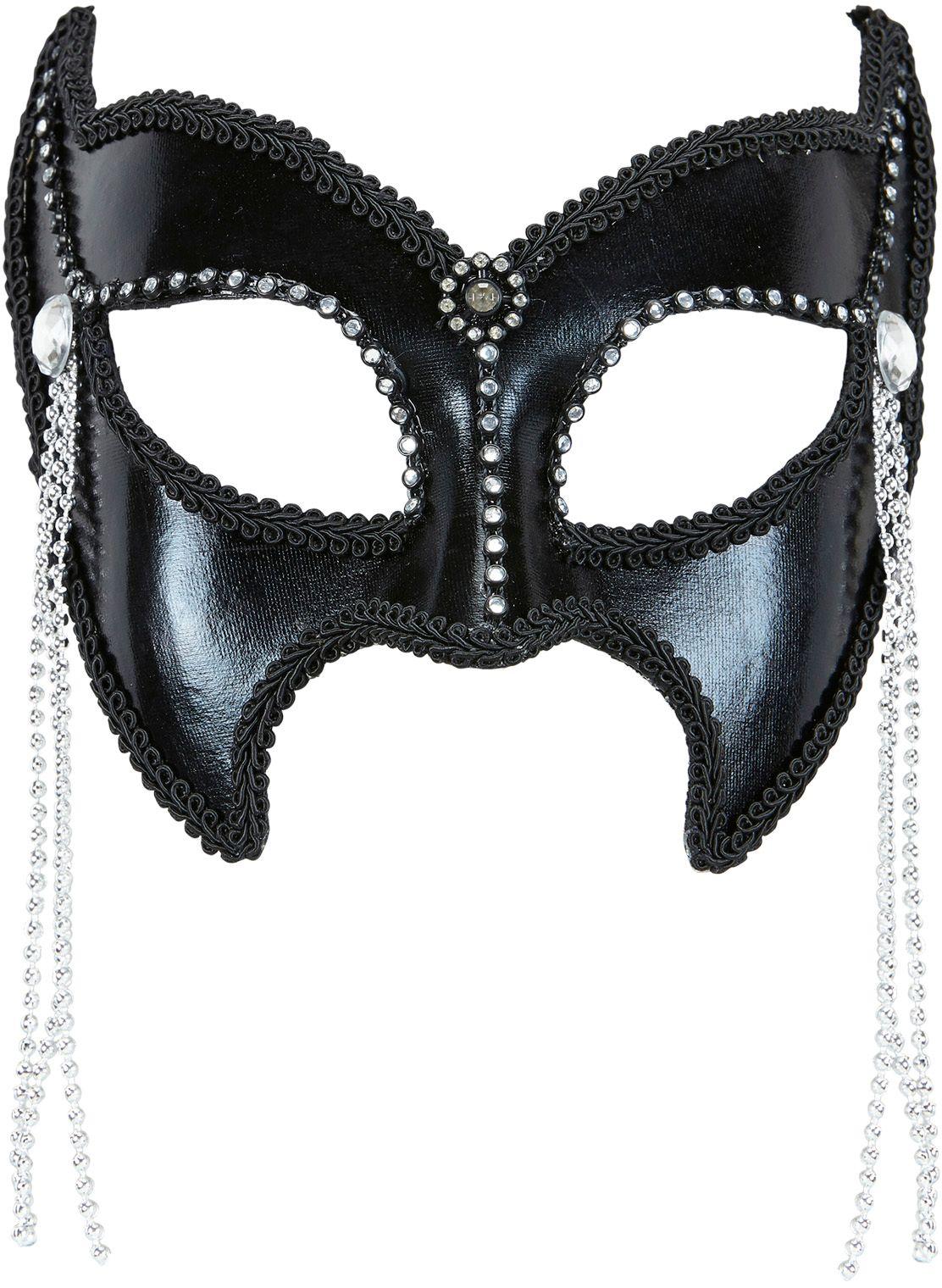 SM oogmasker met strass stenen zwart