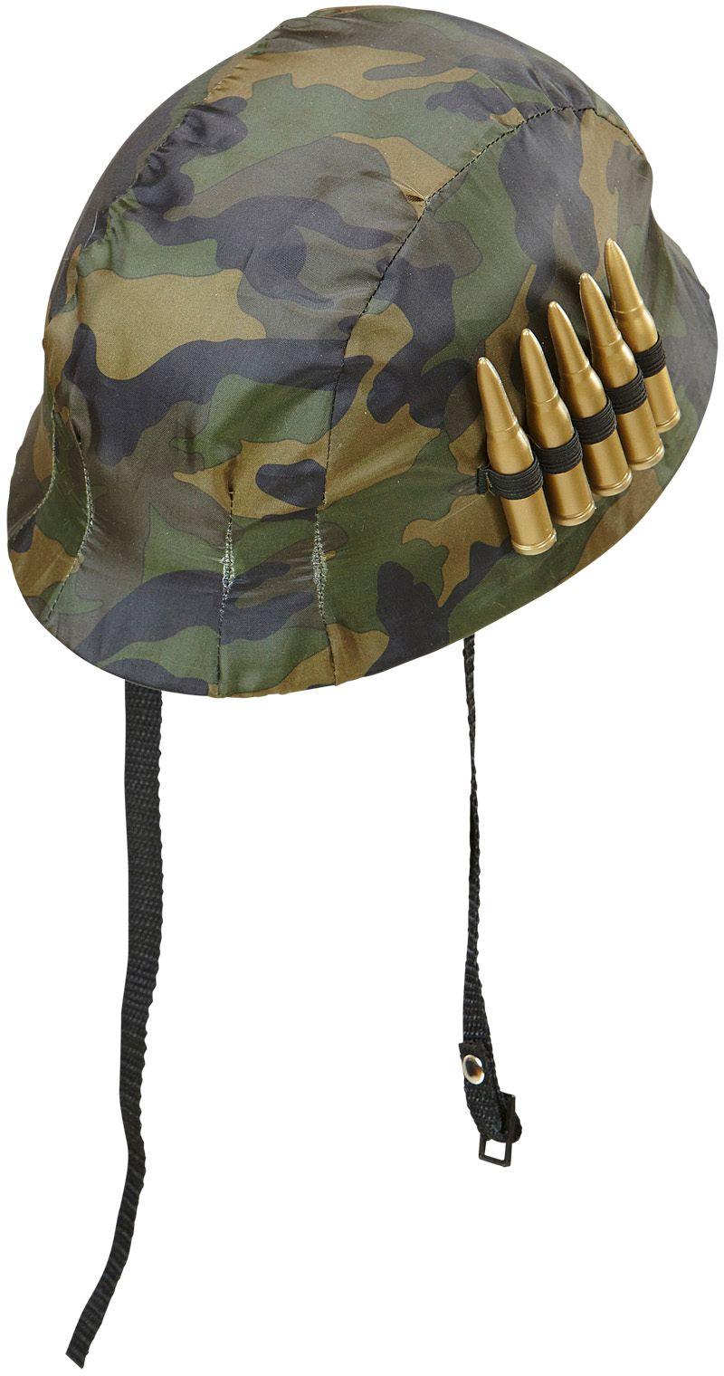 Soldaten camouflage helm met kogels
