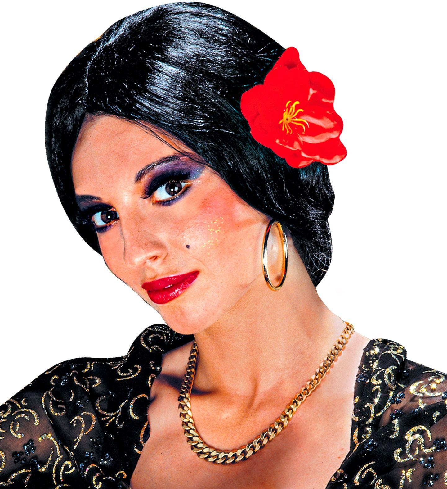 Spaanse flamenco danseres pruik