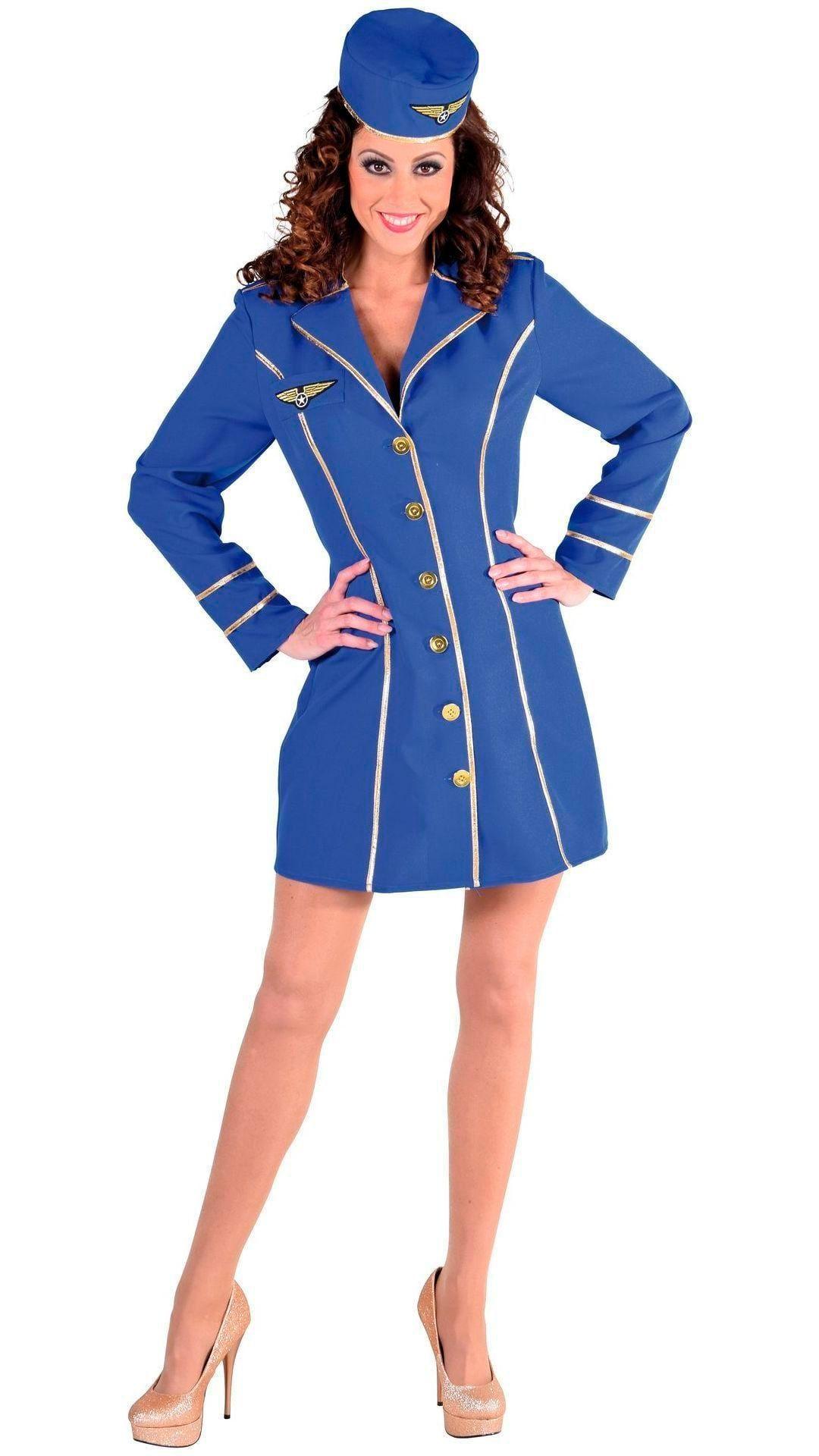 Stewardess kostuum blauw vrouwen