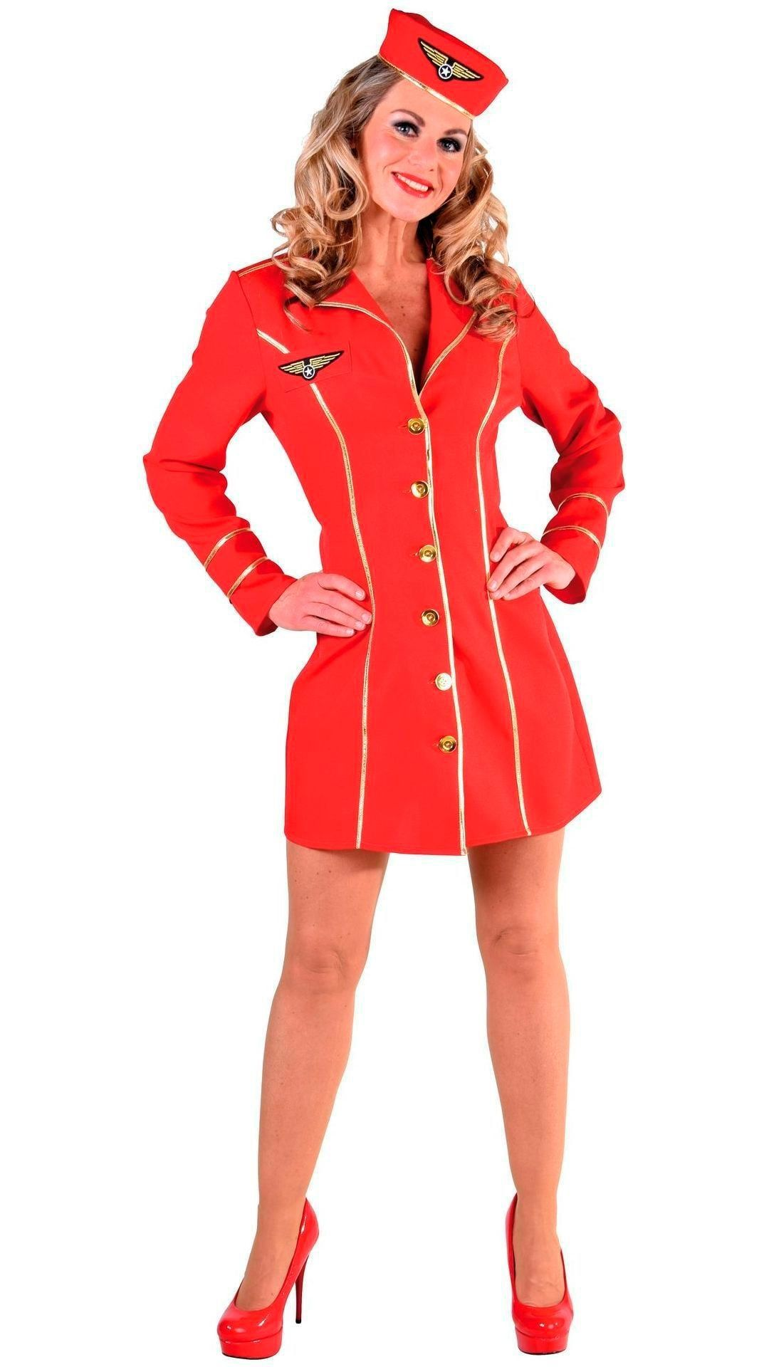 Stewardess outfit vrouwen rood