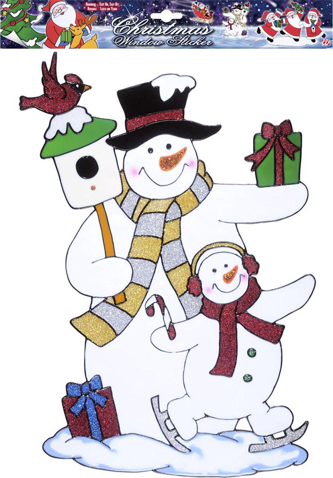 Sticker met twee sneeuwpoppen