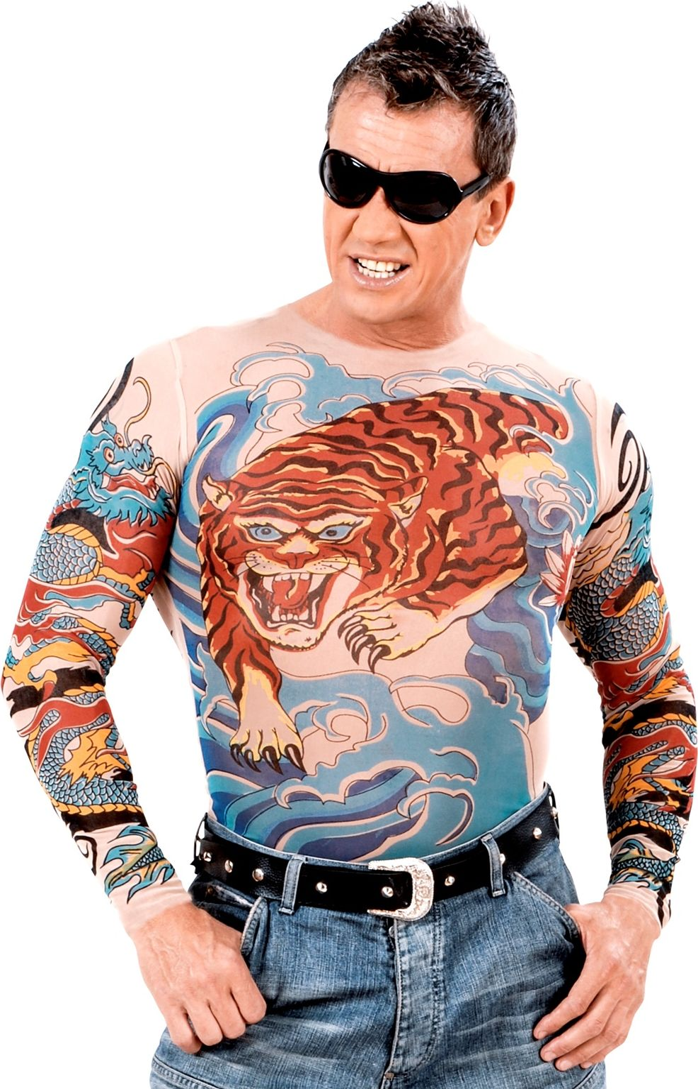 Tijger en draken tattoo shirt heren