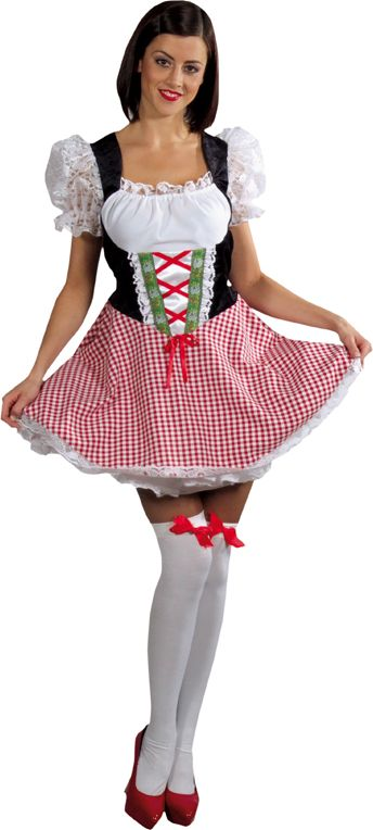 Tiroler heidi jurkje rood vrouwen