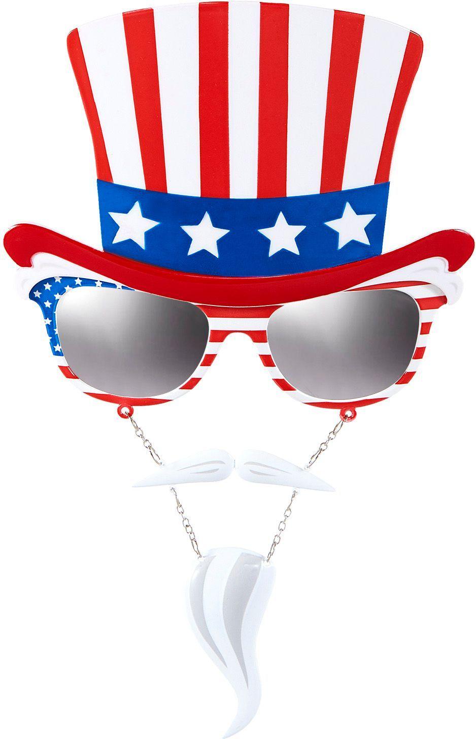 Uncle Sam bril met snor en sik