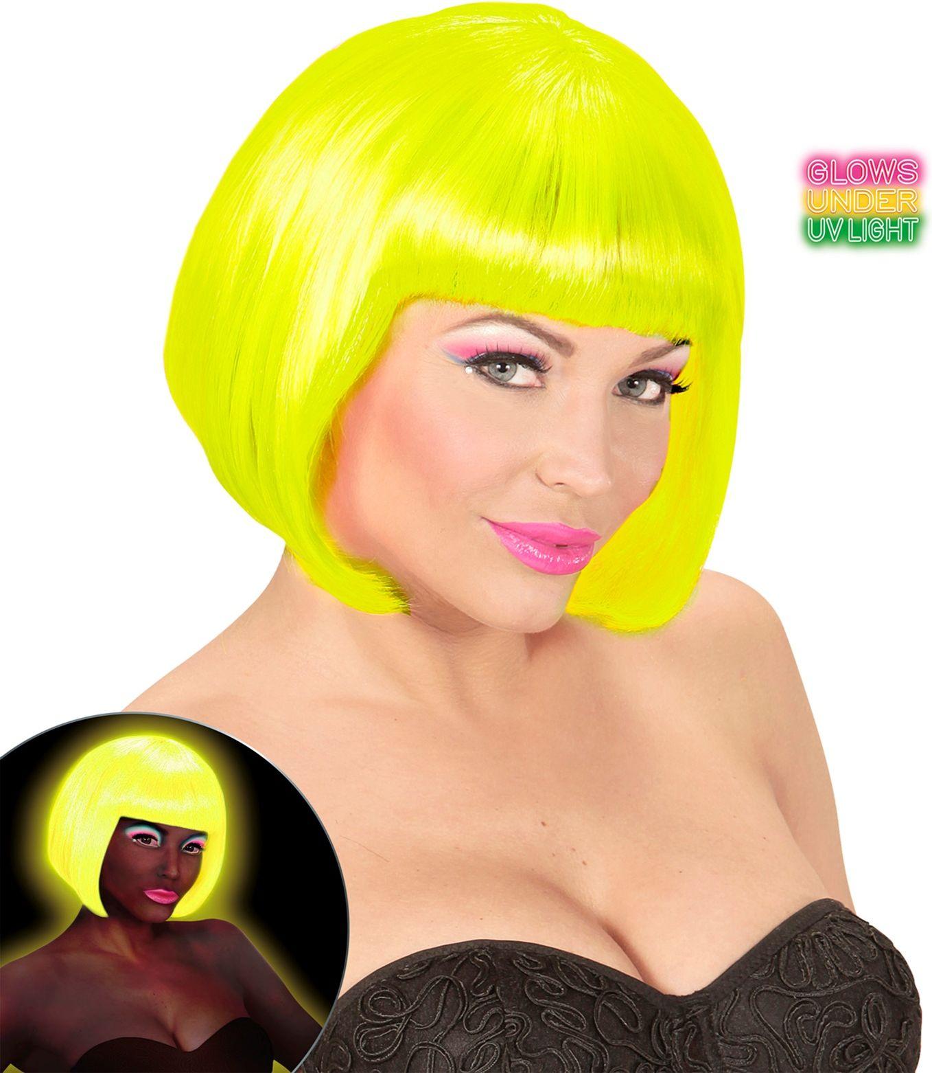 Valentijn pruik neon geel