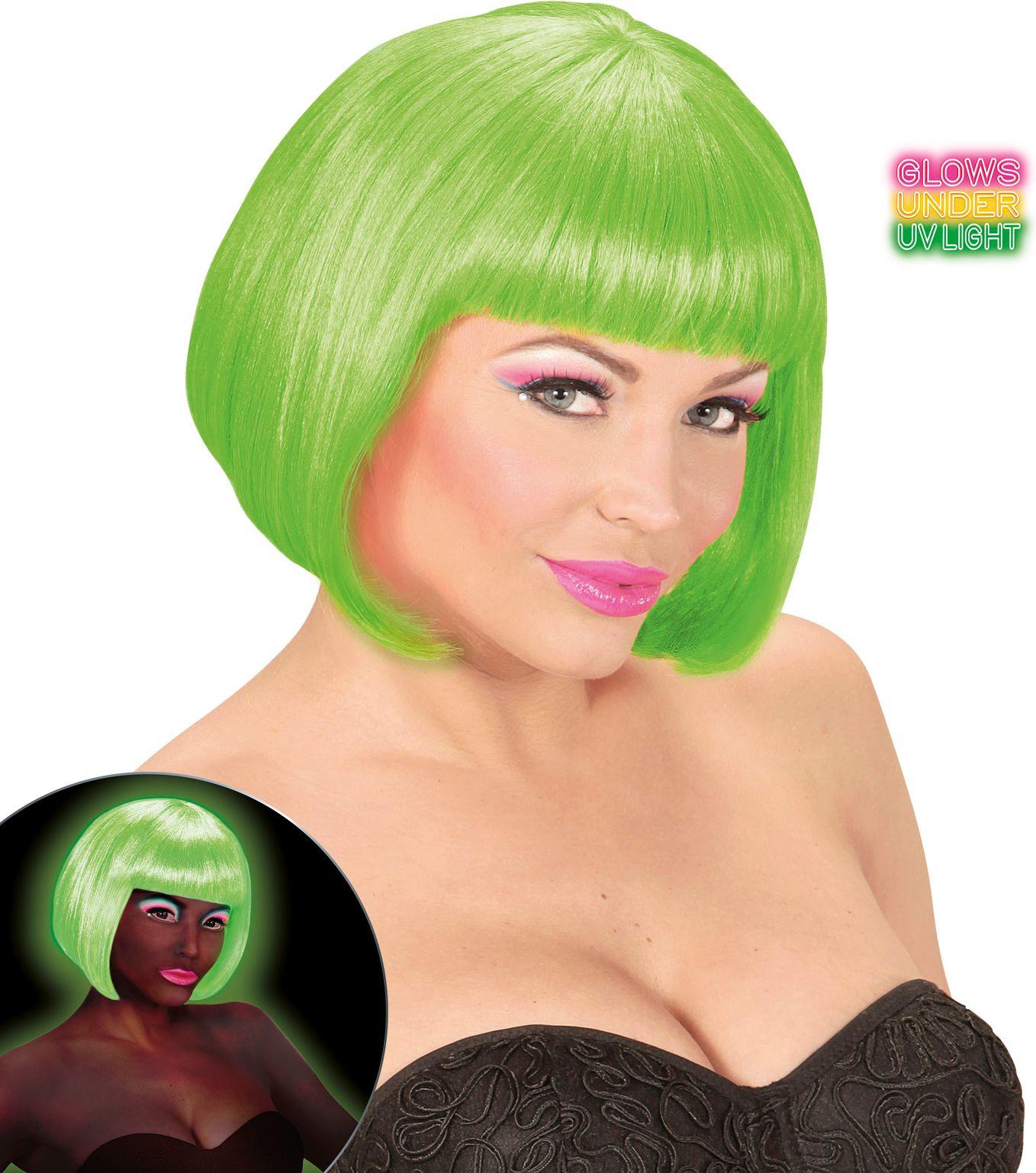 Valentijn pruik neon groen