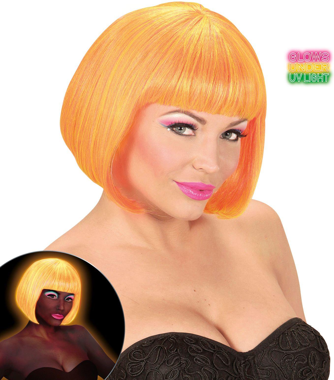 Valentijn pruik neon oranje-geel