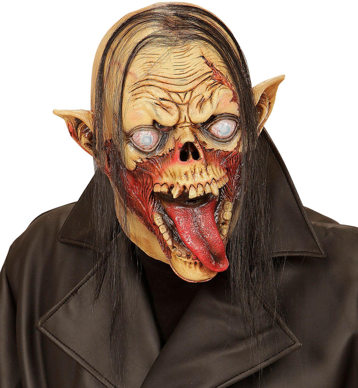 Vampier zombie masker met haar