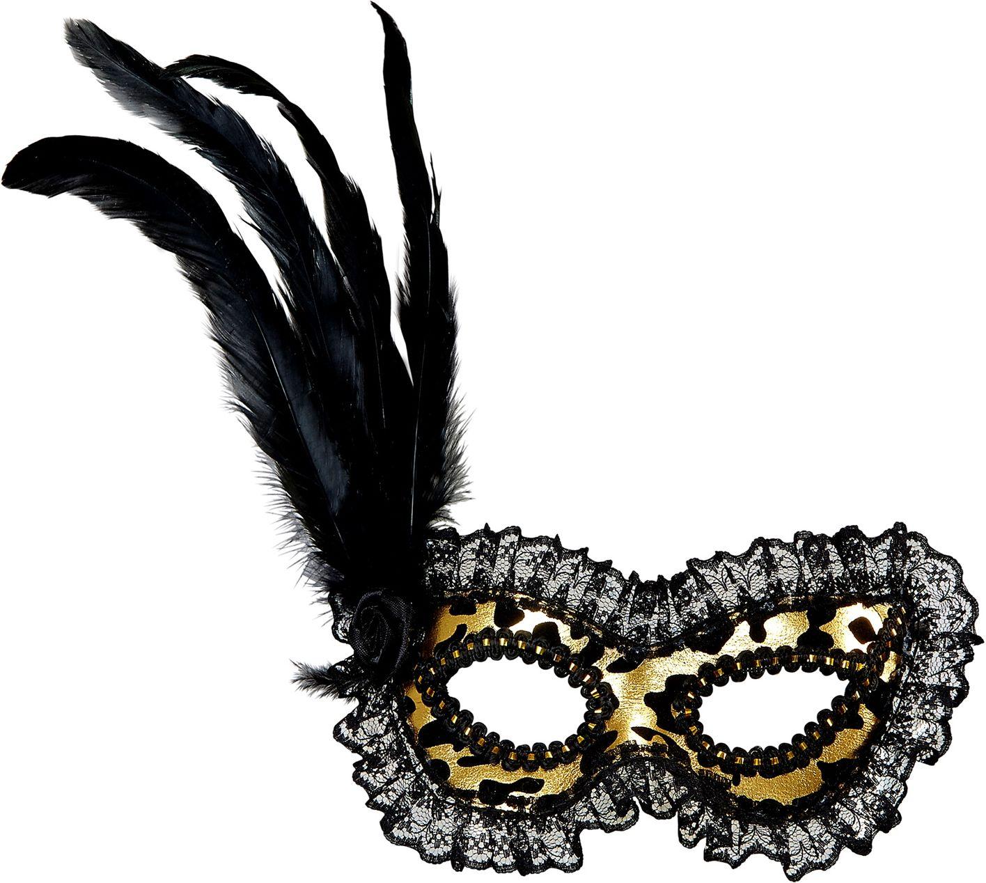 Venetiaans gouden oogmasker met kanten rand en veren