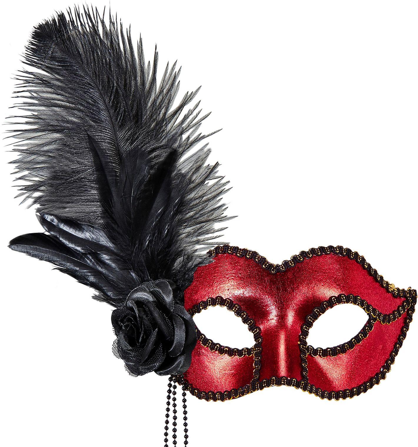 Venetiaans oogmasker met roos en veren