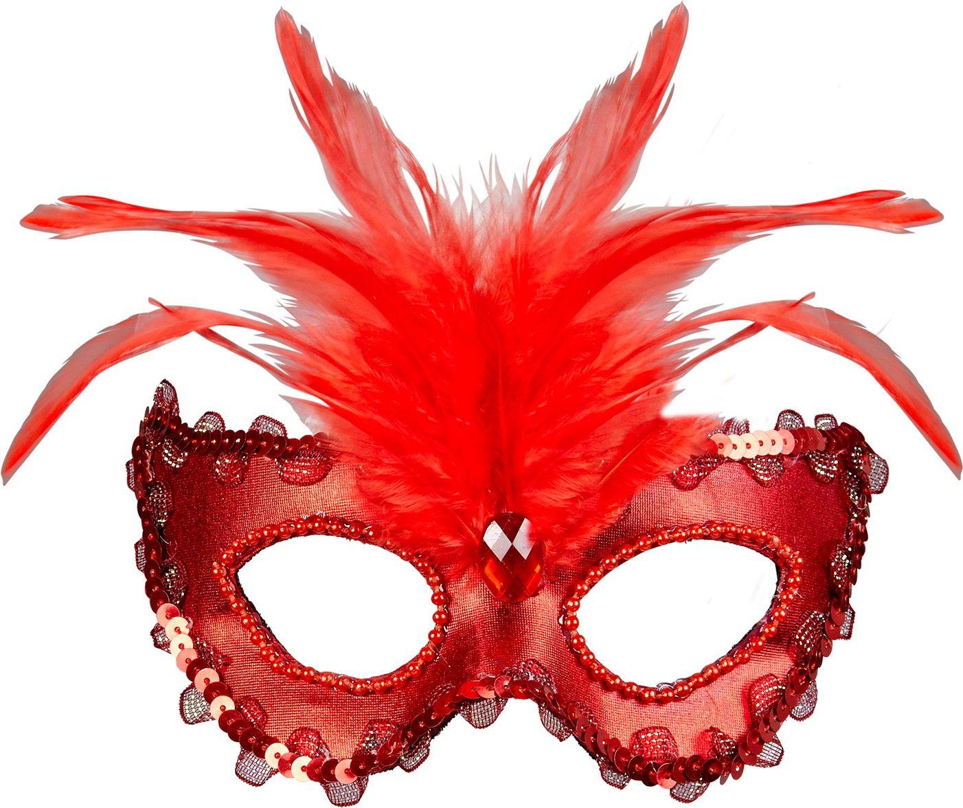 Venetiaans oogmasker met veren rood