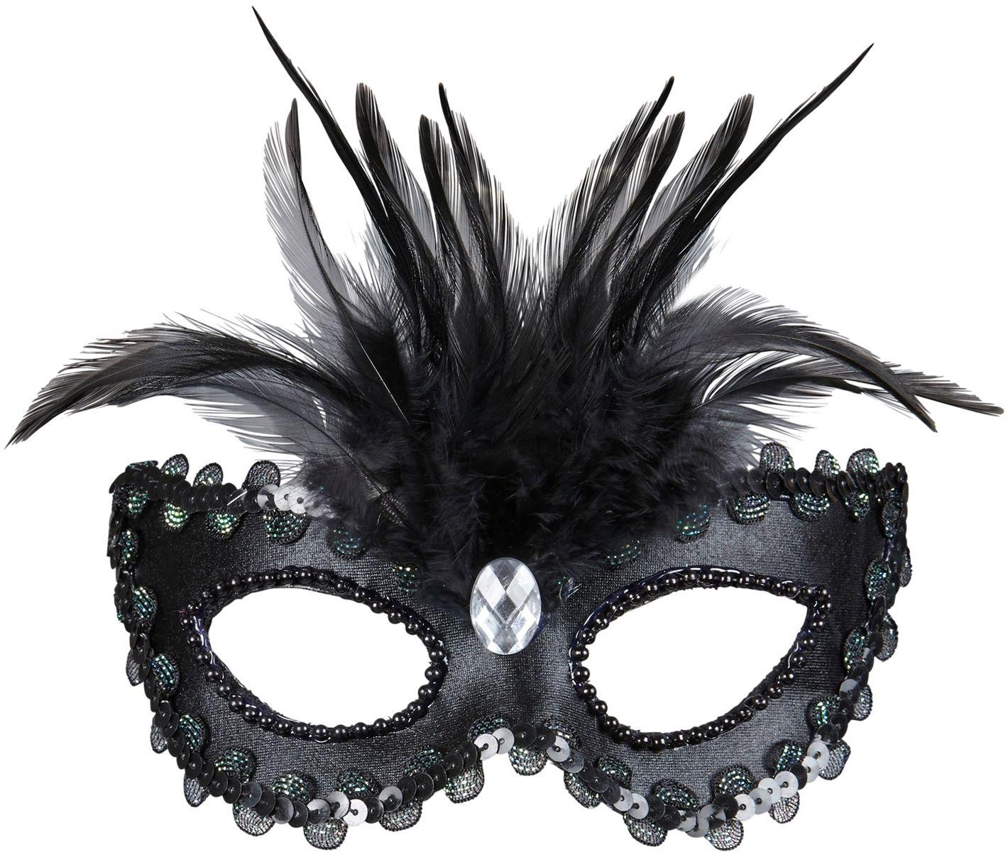 Venetiaans oogmasker met veren zwart