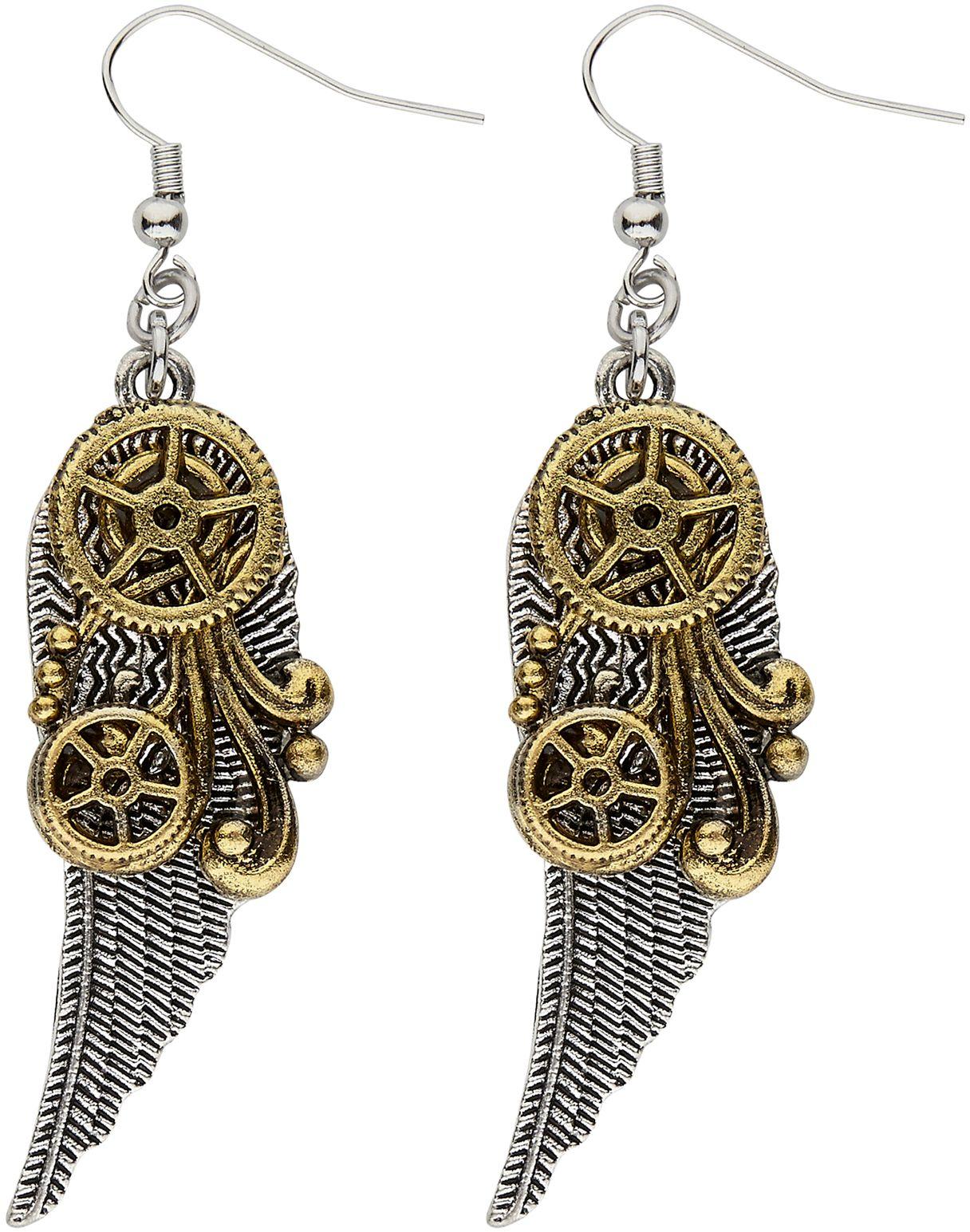 Vleugels steampunk oorbellen