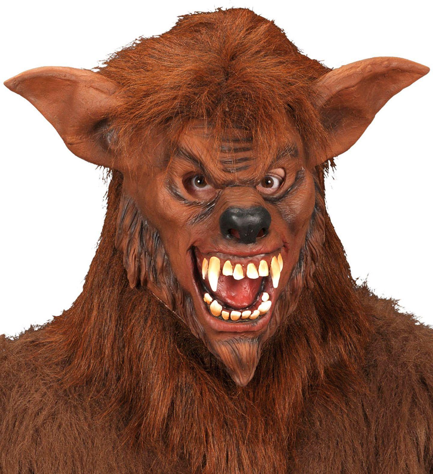 Weerwolf masker met pluche vacht