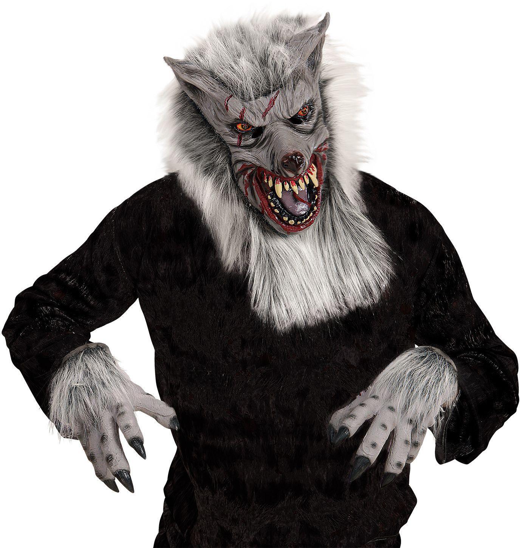 Weerwolf pluche masker met handen