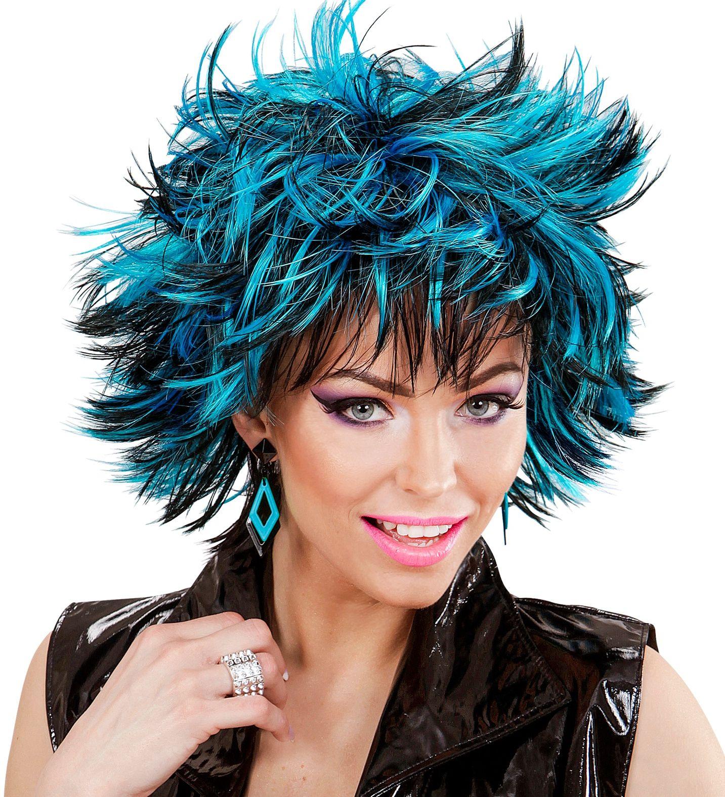 Wilde disco pruik zwart-blauw