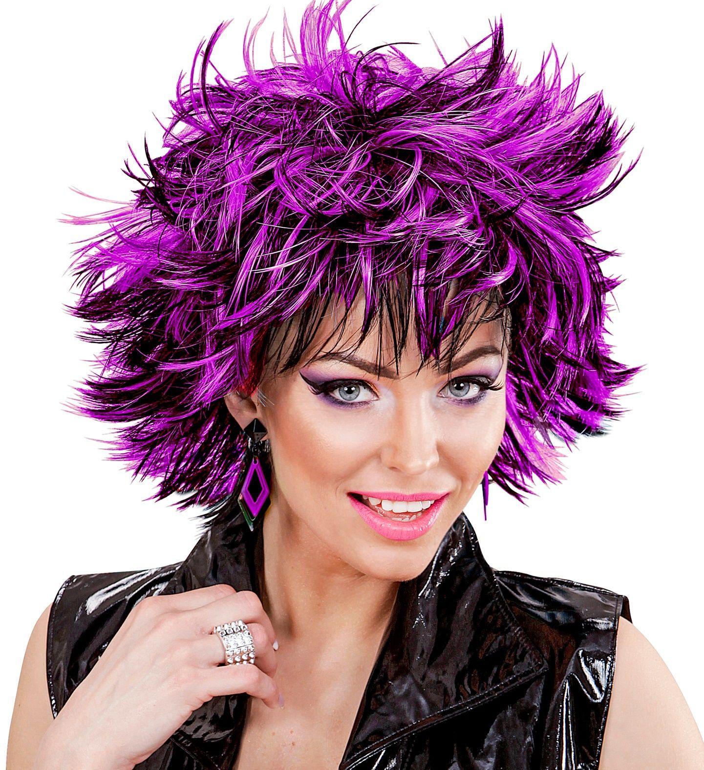 Wilde disco pruik zwart-paars