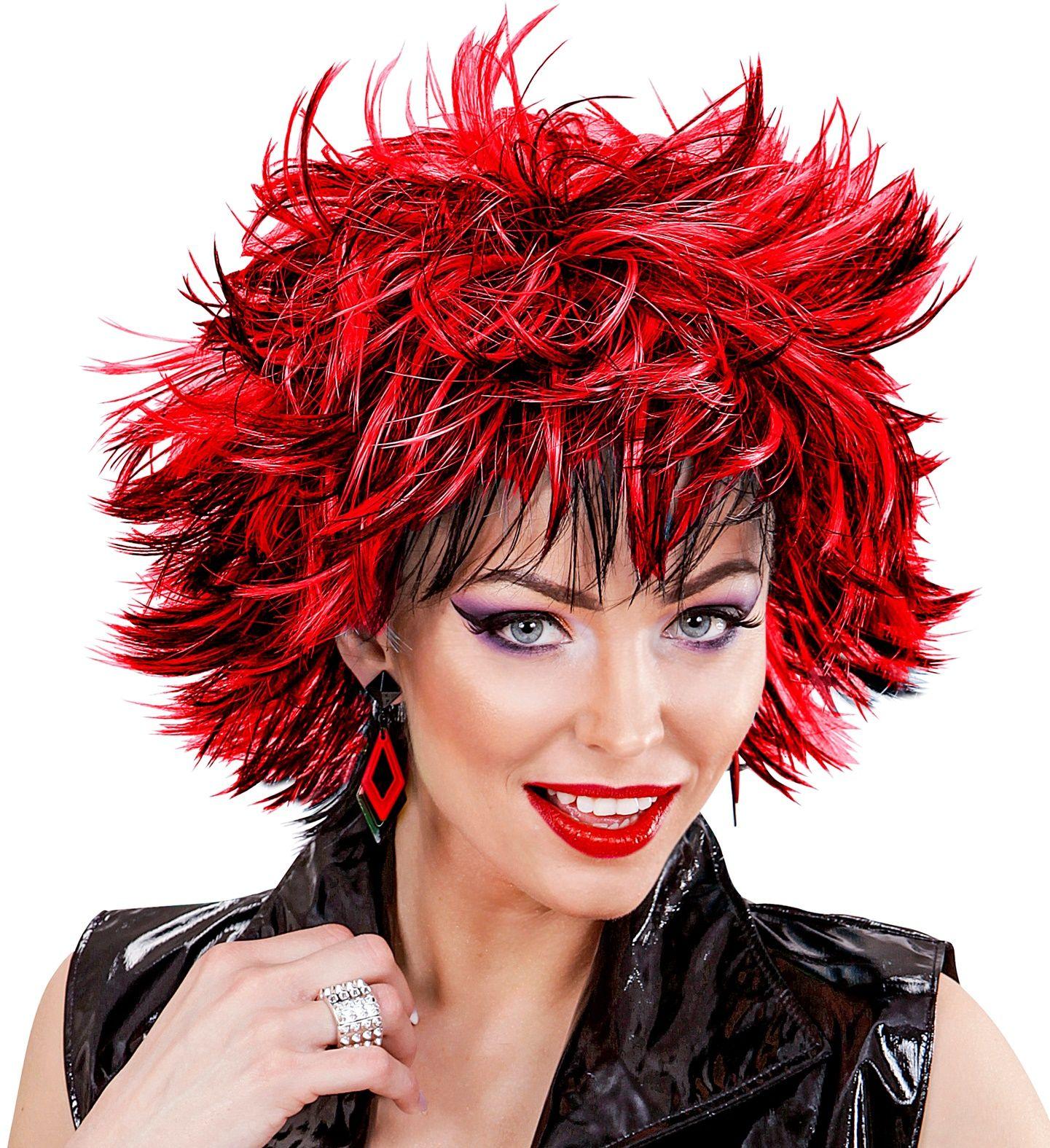Wilde disco pruik zwart-rode