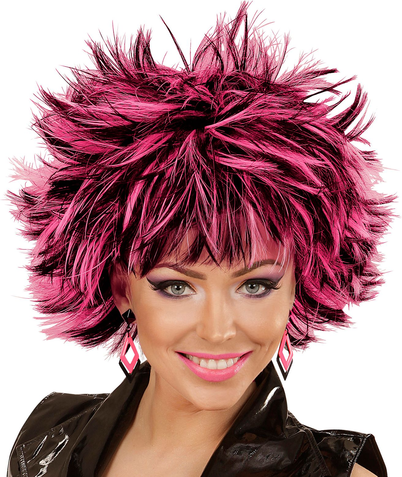 Wilde disco pruik zwart-roze