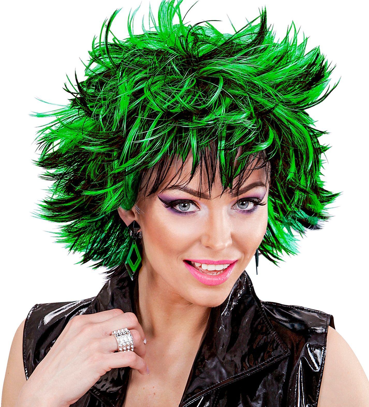 Wilde pruik zwart-groen