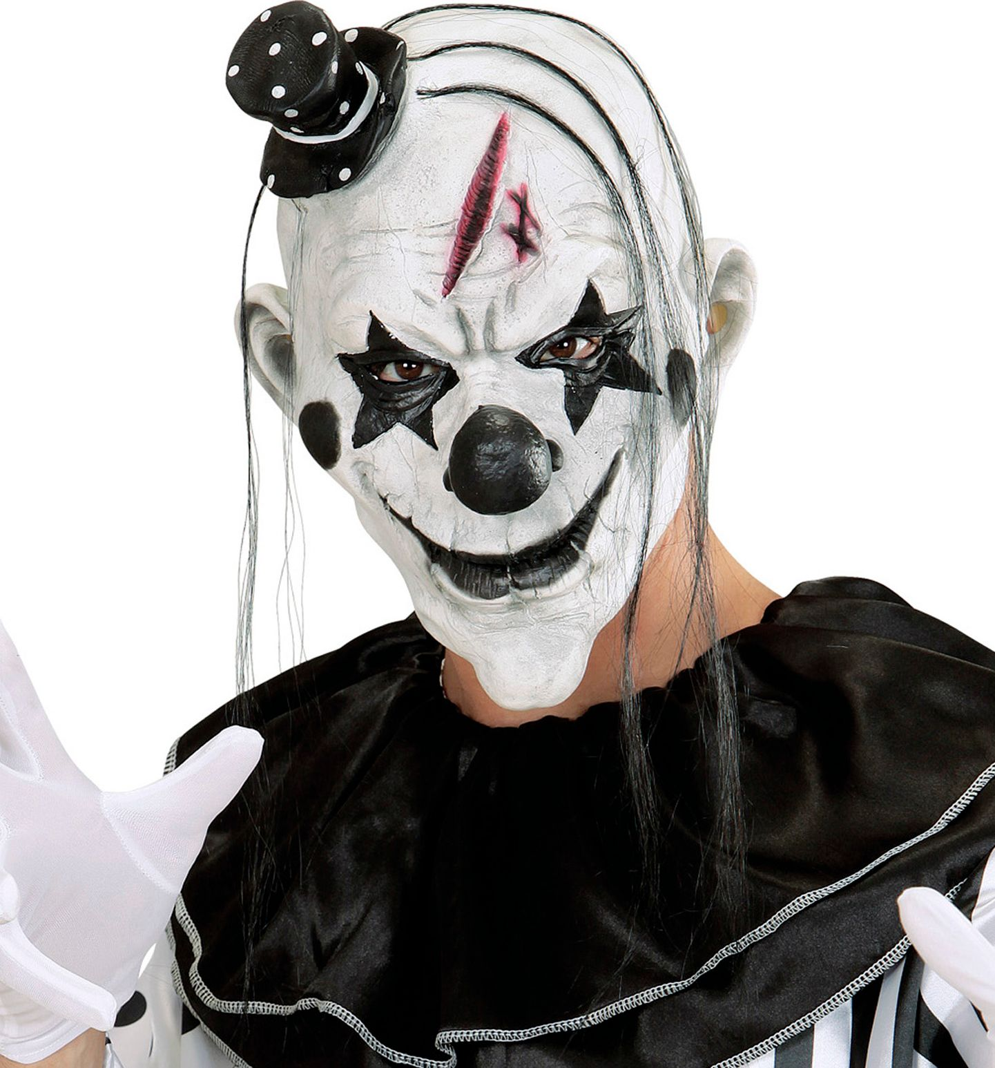 Wit horror clown masker