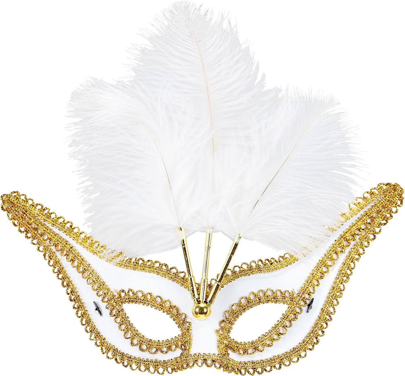 Wit oogmasker met veren en gouden rand