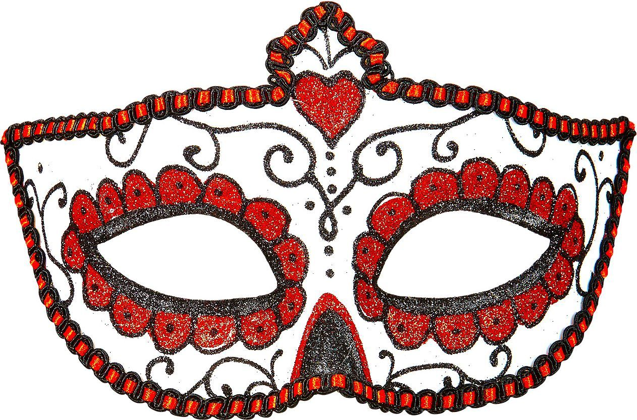 Wit rood day of the dead oogmasker