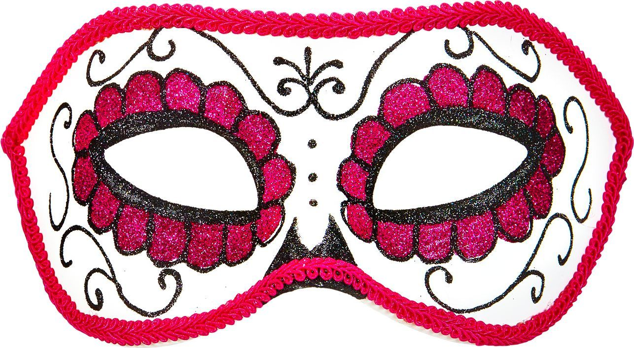 Wit roze day of the dead oogmasker