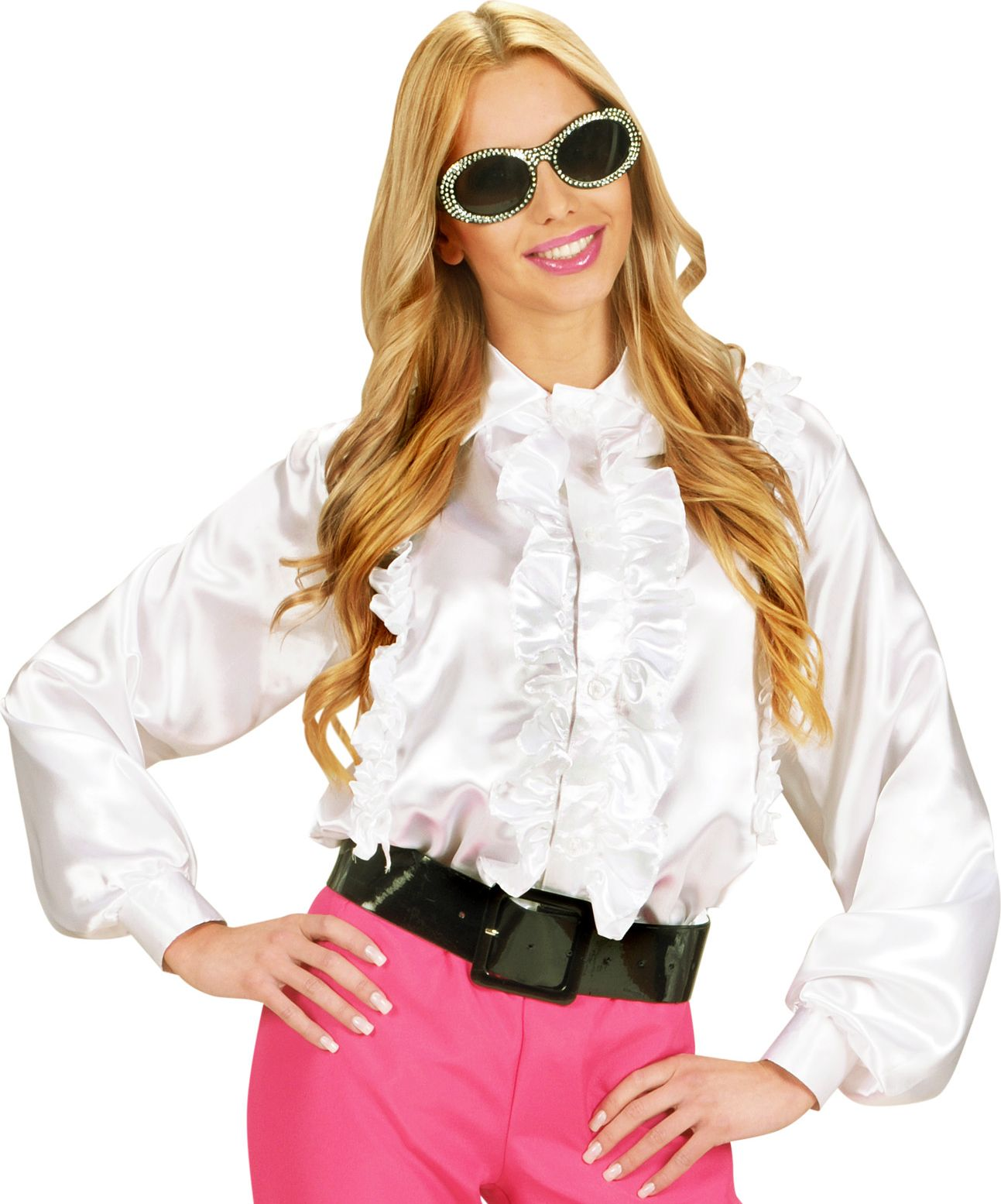 Witte dames disco blouse