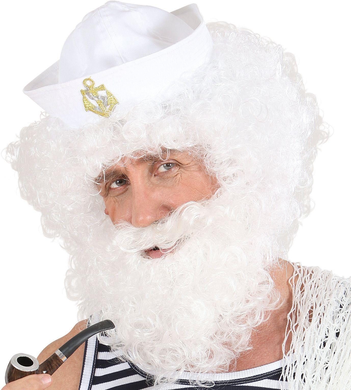 Witte gekrulde pruik met baard