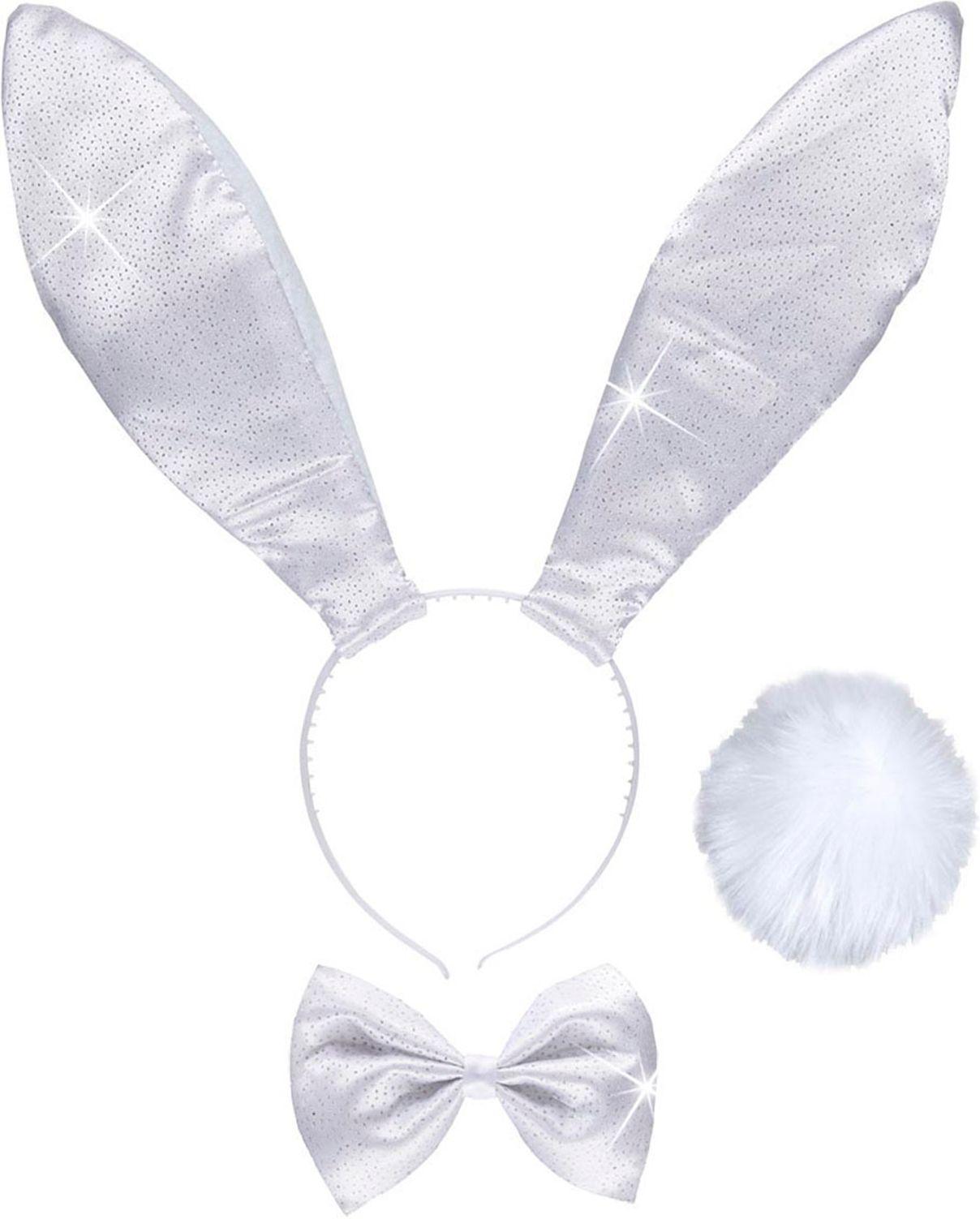 Witte glitter konijn oortjes, strikje en staart