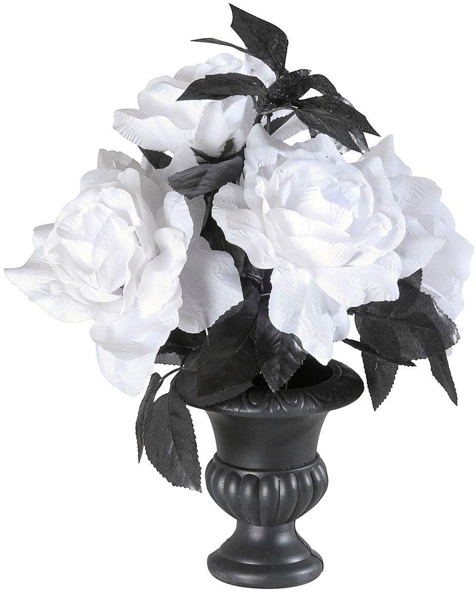 Witte rozen in halloween vaas